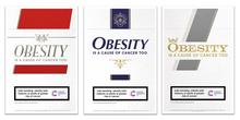 Campaign images inspired by old cigarette packs featuring warnings about obesity and cancer risk