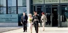 HRH The Queen leaving the Cambridge Research Institute.