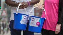 Cancer Research UK fundraising bucket