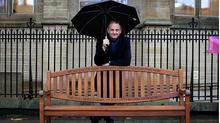 BBC broadcaster Mark Radcliffe today launched 'Re-Write Cancer' Cancer' - a £20m fundraising campaign - by unveiling an engraved park bench in the grounds of the University of Manchester