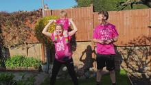 A family take part in Race for Life at Home