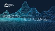 Mountains made of tiny dots sit against a blue background. Overlaid text reads 'Rising to the Challenge'