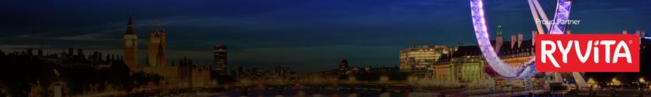 Skyline of London taken during the Shine Night Walk featuring the Ryvita logo - headline partner for Shine Night Walk