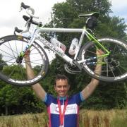 Celebrating cyclist