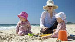 Family on a sunny beach