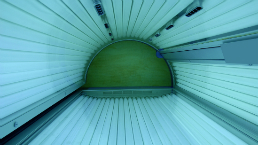 Interior of a sunbed