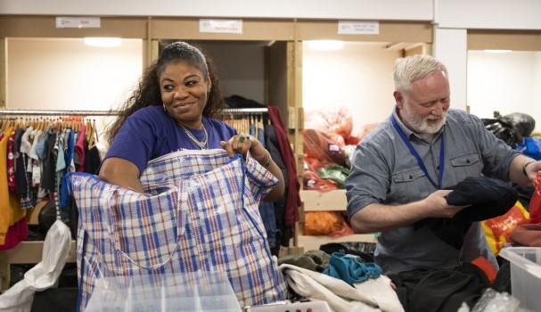 Volunteers sorting items